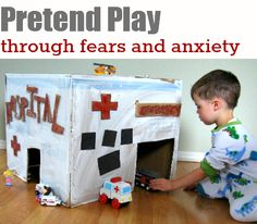 Cardboard Hospital: Pretend play to work through fear and anxiety. And children's book recommendations about doctors, hospitals and just plain being sick!