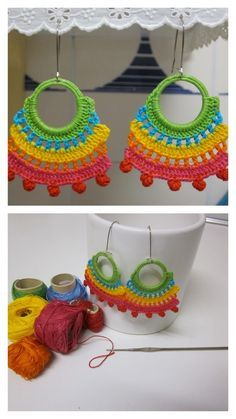 35 Ideas For Crochet Jewelry Ideas Ganchillo Crochet Jewelry Patterns, Crochet Earrings Pattern, Crochet Accessories, Crochet Necklace, Love Crochet, Crochet Flowers, Crochet Lace, Crochet Stitches, Crochet Crafts