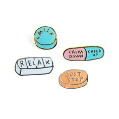 Honest Meds Pins // pingame // enamel pin // lapel pin // mental health // Adam J Kurtz Jacket Pins, Cool Pins, Pin And Patches, Stickers, Pin Badges, Pink Aesthetic, Lapel Pins, Pin Collection, Just In Case