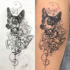 Tatuagem de cachorro e gato , tattoo pet , pet tattoo, tatuagem delicada , feminina tattoo
