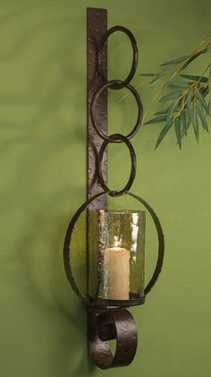 Rustic Sconce Wall Candle Blackened Holder