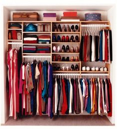 Bedroom closet, but clothes instead of shoes, and double hanging on left instead of shelves.