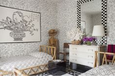 Pretty black and white bedroom from July 2013 Veranda