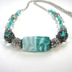 Aqua Turquoise Teal Necklace Lampwork Glass & Silver Tone Findings