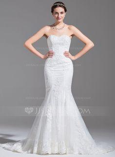 Trumpet/Mermaid Sweetheart Chapel Train Tulle Lace Wedding Dress (002078693)