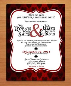 Queen of Hearts / Alice in Wonderland Modern Wedding Invitation PRINTABLE / DIY, via Etsy.