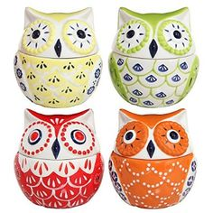 Set of 4 Multicolored Abstract Owl Design Ceramic Condiment Pots / Decorative Kitchen Jars - 8oz Each