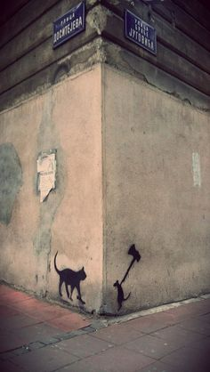Witty stencil at the corner of Dositejeva and Braće Jugovića streets...Belgrade Serbia