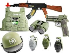 COMBO: AK47 Toy Gun with Electronic Firing Sound Pistol, Magnifying Binoculars, Combat Vest, Combat Helmet Toy Guns, 3 Realistic sounding and exploding Grenades for kids with removable pins by Toy Guns For Kids, http://www.amazon.com/dp/B004QJ3P76/ref=cm_sw_r_pi_dp_VEtTrb1ZF1CBB