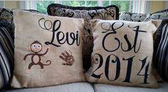 Burlap Pillow, Est Pillow, Nursery Decor, Birth Annoucement Pillow, Bedroom Pillow, Baby Pillow, Monkey Pillow, Birth Pillow