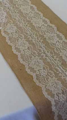 Burlap & Lace Table Runner with a Variety of Lace Color Options. Great for Weddings and Other Special Events. Rustic and Chic. Burlap Lace Table Runner, Lace Runner, Table Runner Pattern, Burlap Table Runners, Diy Wedding Decorations, Wedding Ideas, Trendy Wedding, Wedding Gifts, Burlap Fabric