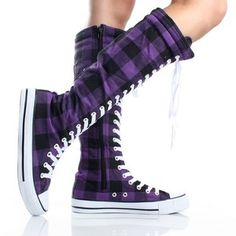 Purple Plaid Lace Up Knee High Boots Canvas Sneaker Womens Skate Shoes
