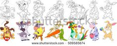 Cartoon animal set. Collection of domestic farm fauna. Basset hound dog, goat, sheep (lamb), bunny (rabbit), carrot, cock (rooster, bantam), cow, hare. Coloring book pages for kids.