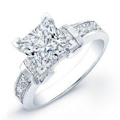 1.15 Carat princess cut diamond engagement ring SI F (GRA)