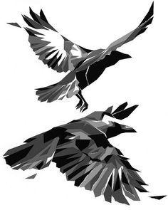 geometric tattoo raven - Google Search                                                                                                                                                                                 Plus
