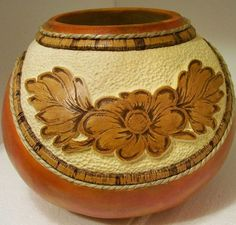 http gourd creations com, crafts, carved tooled leather look with rope rim