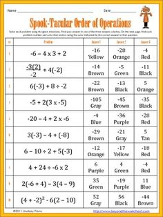 Halloween Integers Math Riddle BundleOrder of Operations with Integers Coloring Worksheet. Middle School Math HalloweenHalloween ...