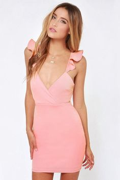 New Lady Women's Fashion Sexy V-Neck Slim Bodycon Backless Dress Light Pink Bodycon Dress, Pink Bodycon Dresses, Pink Dress, Ruffle Dress, Ruffles, Plus Size Dresses, Cute Dresses, Casual Dresses, Party Dresses
