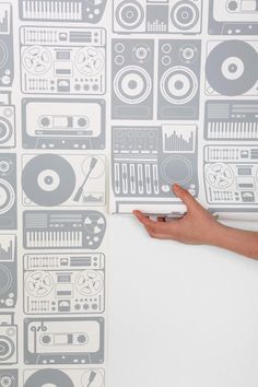 Wallpaper featuring music, tapes, speakers, record players, etc.