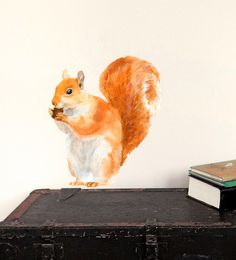 Red Squirrel Wall Decal Fabric Wall Sticker Not by chocovenyl