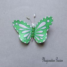 magnet papillon de vinyle recyclé rose et vert, corps de perles  +1 aimant, déco magnétique murale, lampe, abat-jour, made in France Magnet, Pink Body, Green Butterfly, Decoration, Pink And Green, 3 D, Recycling, Wall Decor, France