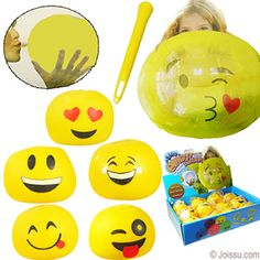 EMOJI JELLY BALLOONS. These re-usable jelly balloons work just like a balloon, but better!!! To start, insert the supplied nozzle (yellow plastic piece) into the valve of the ball. To inflate, put your mouth over the nozzle and blow. Ball will expand to 10 inches. When expanded, remove the nozzle and the valve will seal itself.  To deflate your Jelly Balloon Ball, just re-insert the nozzle into the valve until all of the air has escaped. Store the balloon with the nozzle for further use.