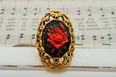 Gothic Victorian Red Rose Flower Filigree Ring, Cameo Jewellery, Gold Brass Adjustable Finger Ring, Vintage Inspired Statement Jewelery by BackAlleyDesignsINK on Etsy