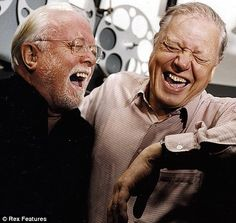 Brothers David and Richard Attenborough having a good old chuckle together. Richard 'dickie' Attenborough will be sadly missed. Famous Duos, Richard Attenborough, Belly Laughs, The Brethren, Raining Men, British Actors, Famous Faces, Make Me Smile, Movie Stars
