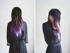 Dip dyed asian hair, purple with white tips