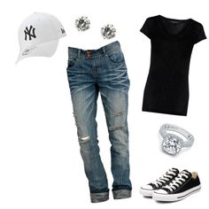 """Baseball outfit"" by terin-solano on Polyvore Would be PERFECT without that hideous Yankees cap ;)"