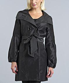 Love this Black Shimmer Silk-Blend Trench Coat on #zulily! #zulilyfinds