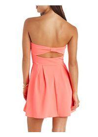 Textured Strapless Bow-Back Skater Dress