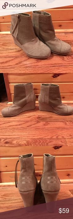 NEW Toms Desert Wedge Booties Size 8! Brand new without box! Toms Desert Wedge highs. Size 8. Tan Suede and croc embossed detail. Small unnoticeable when worn scratch on top left boot shown in 5th picture. More details in last picture :) no trades! Make me an offer  TOMS Shoes Ankle Boots & Booties