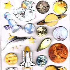 Outer Space 3-D Bejeweled 21 Stickers Astronaut Space Stars Rocket Planet Comet #GreenbrierInternational #3DDimensional