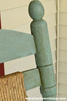 Fun Home Things: Annie Sloan Chalk Paint--Rocking Chair Makeover Painted Outdoor Furniture, Painting Wooden Furniture, Building Furniture, Painted Rocking Chairs, Outdoor Rocking Chairs, Painted Tables, Green Accent Chair, Rocking Chair Makeover, Wood Room Divider
