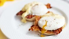 Delia Smith's eggs benedict recipe with a cheat's hollandaise sauce.  Thinking of breakfast now...