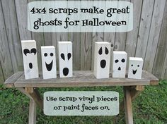 Quick & Easy Halloween Decor. Wooden block Halloween Ghosts