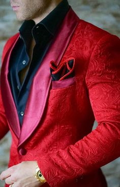 Latest Coat Pant Designs Red Shawl Lapel Embossed Pattern Custom Slim Fit Groom Jacket Wedding Suits For Men 2 Pieces Terno Mode Masculine, Sharp Dressed Man, Well Dressed Men, Suit Fashion, Mens Fashion, Urban Fashion, Fall Fashion, Fashion Dresses, Fashion Trends