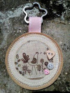Felt and fabric keyring  http://folksy.com/items/6288111-Personalised-fabric-and-felt-keyring