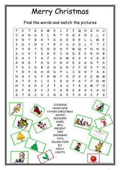 Christmas Wordsearch worksheet - Free ESL printable worksheets made by teachers Christmas Word Search, Christmas Quiz, Christmas Puzzle, English Christmas, Christmas Words, Merry Christmas To All, A Christmas Story, Kids Christmas, Crochet Christmas