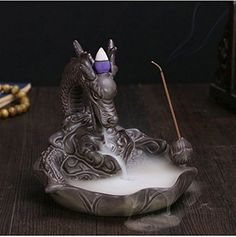 Ceramic Art Craft Carp Dragon Smoke Backflow Incense Burn...