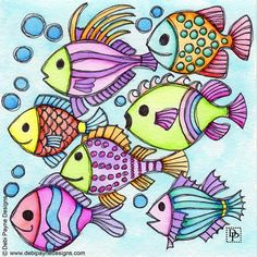 Image: Seven Swimming Fish - Pint Pic Doodle Designs, Fish Art, Fish Fish, Colorful Drawings, Whimsical Art, Stone Art, Doodle Art, Doodle Drawings, Fabric Painting
