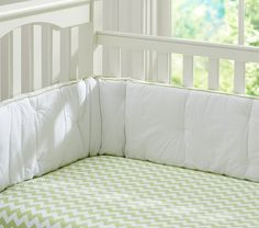 Chevron Crib Fitted Sheet, Green | Pottery Barn Kids