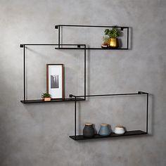 3-Piece Large Matte Black Floating Shelves + Reviews | CB2