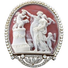 Pre-owned Exquisite Belle Epoque Pearl Diamond Cameo Brooch ($12,000) ❤ liked on Polyvore
