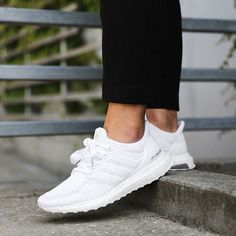 TODAY'S CRUSH!  The white Adidas UltraBOOST W is now available!  The Ultra Boost is specifically designed to provide a natural running flow. This womens' running features a sock-slip Adidas Primeknit upper along with the iconic energy-returning plush boost Mid-sole allowing extreme stability and cushioning through every step.  #SupplyingGirlsWithSneakers