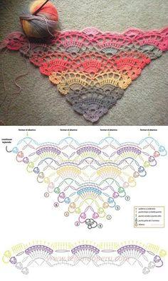 Most current Free Crochet poncho diagram Strategies Virustuch Crochet Scarf Diagram, Poncho Au Crochet, Pull Crochet, Crochet Shell Stitch, Knitted Shawls, Crochet Scarves, Crochet Stitches, Free Crochet, Knit Crochet