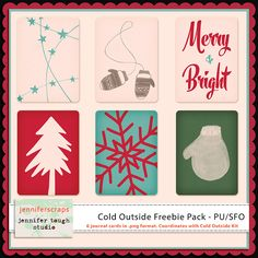 Freebie – Coordinating Journal Cards from the Cold Outside Kit Happy Holidays everyone!  Enjoy this freebie pack of 6 journal cards that coordinates with my latest kit