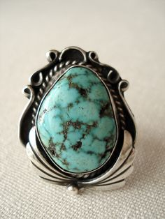 Beautiful Vintage T Begay Sterling and Turquoise Ring by HazyDayStudio