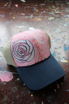 Hand Painted Flower Trucker Hat by YellowBirdBohemia on Etsy d09123658c2a